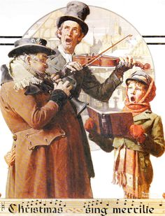 Norman Rockwell Favorite Poster, Vintage Poster Art, Christmas Trio, Antique Art, Printed in 1977 Norman Rockwell Prints, Norman Rockwell Paintings, Caricatures, Peintures Norman Rockwell, The Saturdays, Norman Rockwell Christmas, Christmas Carol, Vintage Christmas, Christmas Scenes