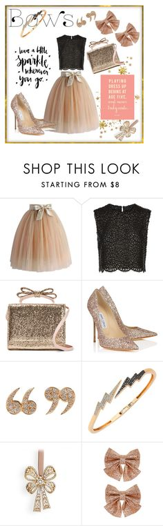 """Leave a Lil Sparkle Wherever u Go@bows"" by shaheenk ❤ liked on Polyvore featuring Chicwish, Costarellos, RED Valentino, Jimmy Choo, Love Is, Bee Goddess, L'Objet, Monsoon, bows and tulle"