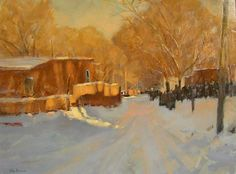 """Brown, Irby """"Snowy Lane"""" Oil on Canvas H:18 x W:24"""