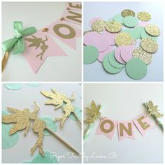 Mint, Pink, and Gold FAIRY Party Package. 1st Birthday Party Decorations. High Chair Banner • Confetti • Cupcake Toppers • Cake Topper