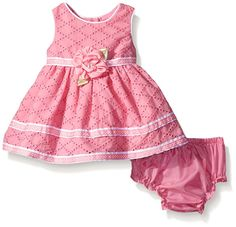 Sweet Heart Rose Baby Sleeveless Clip Dot Dress with Diaper Cover, Pink, 0-3 Months
