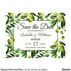 Elegant Olive Leaf Boho Garden Save the Date