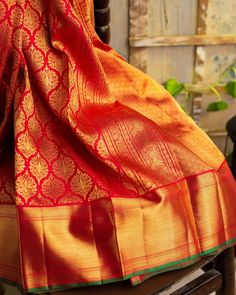 Ethnic Sarees, Silk Sarees, Vermillion Red, Labrynth, Indian Outfits, Indian Clothes, Green Saree, Silk Brocade, Indian Jewelry
