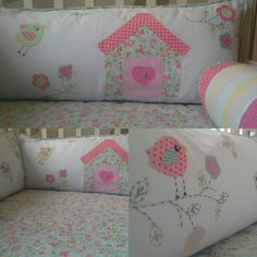 Kit berço patchwork menina passarinho  www.ateliecolorir.com.br