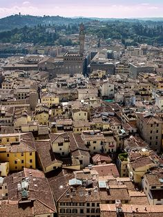 Florence, Tuscany: The panorama view from the Dome of the Cathedral Santa Maria del Fiore, over the center of the old town, across to the Palazzo Veccio. #florence #italy #palazzo vecchio #piazzasignoria #tuscany #panorama