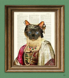 Madam For-tuna Gypsy Fortune Teller Cat illustration beautifully upcycled dictionary page book art print. $7.99, via Etsy.