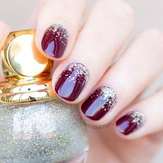 Coat your nails with a beautiful burgundy polish and add some glitz, working your way up from the cuticles. Image: Instagram/@so_nailicious