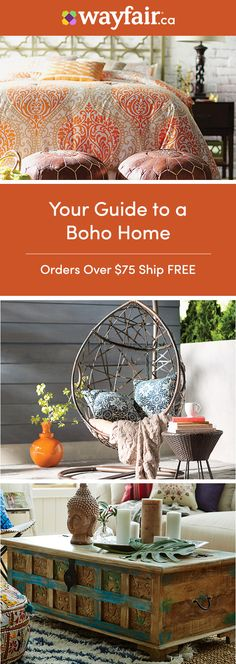 Sign up for access to the best deals on furniture and decor. Discover rattan designs, bright floral patterns, and more bohemian decor to give your home an eclectic look in no time. Styles for every room are up to 70% OFF daily, and orders over $75 ship FREE.