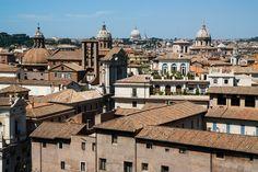 Rome - Campanile of Santa Maria in Campitelli in centre - Cupolas of Sant'Angelo in Pescheria, San Carlo ai Catinari, St. Peter's and Sant'Andrea della Valle