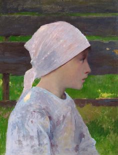 ■ HAWKINS, Louis Welden (French, 1849-1910) - A Breton Girl. Oil on panel 34.5 x 26.7 cm - Private collection, Paris / Provenance: Dr. Francis Mally, received as a gift from the artist ■ Луис Велден ХОУКИНС - Бретонская девочка /  Подарок доктору Фрэнсису Малли от художника