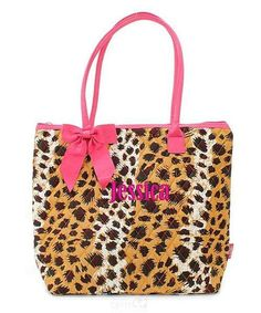 "Personalized Leopard Print Brown Hot Pink 16"" Quilted Tote Bag - Gifts Happen Here - 1"