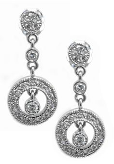 Diamond earrings with 0.28carat total diamond weight in 14k white gold | #sparkle | Hannoush.com