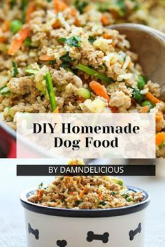 Store-Bought Ingredients Homemade Dog Food Vegan Dog Food, Food Dog, Make Dog Food, Puppy Food, Food For Dogs, Dog Biscuit Recipes, Dog Treat Recipes, Dog Food Recipes, Homemade Dog Treats
