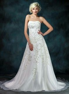 Great A Line Princess Strapless Chapel Train Organza Satin Wedding Dresses With Embroidery Beadwork Sequins
