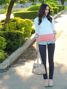 Button down with v neck sweater over, polka dot pants and flats