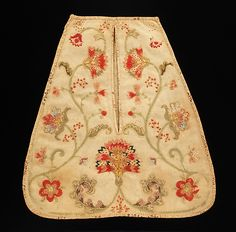 """Linen and wool embroidered pocket, American, 1750. Marking [handwritten in ink]: """"R. Town/1750"""""""