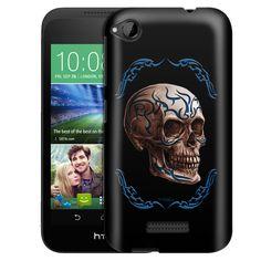 HTC Desire 320 Blue Tattoo Skull on Black Slim Case