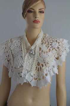 Wedding Crochet Capelet Wedding Shrug Wearable by levintovich, $165.00
