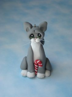Gray Tuxedo cat christmas ornament polymer clay figurine handcrafted art sculpture figure. $12.50, via Etsy.