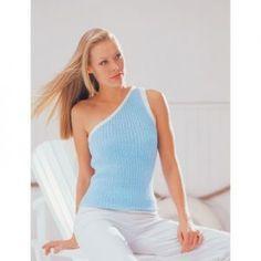 Patons Asymmetrical Ribs Free Summer Top Knitting Pattern