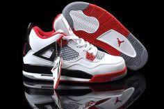 Nike Jordan Retro 4 Female WhiteVarsity RedBlack