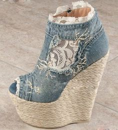 Aliexpress.com : Buy Free shipping sexy denim lace up women high heel shoes ladies open toe ankle wedge boots from Reliable high heel shoes suppliers on Wuhan Catherine Apparel Trade Co., Ltd. $74.00