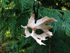 Small Leather leaf mask ornament by SkinzNhydez on Etsy, $15.00