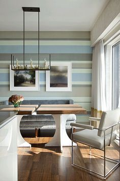 bathrooms and striped walls | Frank Roop: Modern dining room + gray + blue + silk striped wallpaper