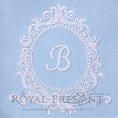Machine Embroidery Design Antique Rococo Blank Monogram - 3 sizes