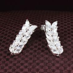 Rice Flower drop earring  White gold-color Plated women's wedding earrings Jewellery ALW1778