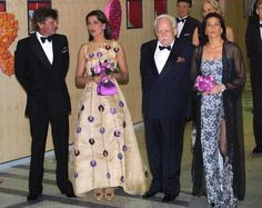 (R-L) Princess Stephanie, Prince Rainier III, Princess Caroline and her husband - Hanover, Prince Ernst August to a party in Monaco March 16, 2002