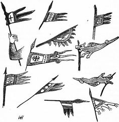 """Pennons and Standards from the Bayeux tapestry. Secondary source.  """"In all, thirty-seven pennons borne on lances by various knights are represented in the Bayeux tapestry, and of these twenty-eight have triple points, whilst others have two, four or five."""""""