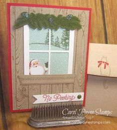 Stampin' Up!, Hearth & Home, Festive Fireplace, Oh What Fun, Hardwood, Home for Christmas Designer Paper, DIY Crafts, hand made Christmas cards. More info about this card on my blog:http://www.carolpaynestamps.com/2015/11/stampin-up-hearth-home-no-peeking.html