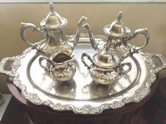 GORGEOUS TOWLE SILVER PLATE 5 PIECE TEA SERVICE SET INCLUDES 30 INCH TRAY, TEAPOT, COFFEE POT, CREAM AND SUGAR