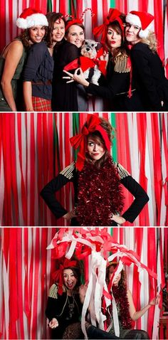 Christmas party photobooth! DEFINITELY doing this year!! I can decorate the back sliding glass door, it'll be next to the tree- perfect :)