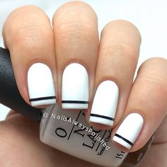 """Louise - Danish blogger på Instagram: """"Today I have a super simple funky french manicure to show you guys! The black striping tape is from @bornprettystore #20356 in the color #15! What do you guys think? ❤️ #nailsalwayspolished #nails2inspire #nailart #nailitdaily #french #bornprettystore #bornprettystorenailart"""""""