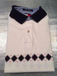 Men's Vintage TOMMY HILFIGER Golf Polo Shirt - White, Argyle Design - Size L