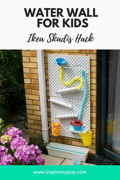 Water Wall for Kids – Ikea Skadis Hack – Inspire my Play - Modern Kids Outdoor Play, Outdoor Play Areas, Kids Play Area, Backyard For Kids, Outdoor Fun, Diy Outdoor Toys, Kids Garden Toys, Water Walls, Outdoor Classroom