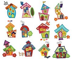 Whimsical cottages and houses machine applique embroidery designs Embroidery Store, Machine Embroidery Thread, Applique Embroidery Designs, Machine Applique, Applique Patterns, Quilt Patterns, House Doodle, Quilting, Novelty Fabric