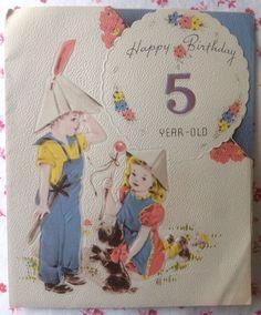 Vintage UNUSED Meryle Birthday Greeting Card Cute Little Boy & Girl, Scottie Dog