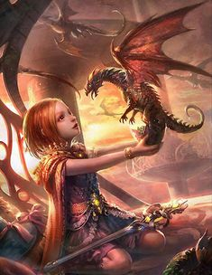 Begin) companions phyllis & vydra dragons dragones, criatura Dragon Girl, Baby Dragon, Red Dragon, Fiery Dragon, Dragon Egg, Magical Creatures, Fantasy Creatures, Dragon Oriental, Dragons