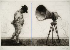 William Kentridge (South African, born Untitled (Man with Megaphone) Etching, aquatint, drypoint, and engraving with roulette and crayon additions 9 x 14 Museum Of Modern Art, Art Museum, Collages, South African Artists, Animation Film, Animation Character, Life Drawing, Drawing Board, Art World