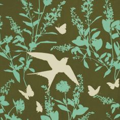 Joel Dewberry - Bungalow Home Dec Sateen - Swallow Study in Forest