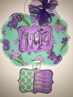 Precious little girls Birth Announcement Hospital Door Hanger! From the hospital door to your nursery, this door hanger is perfect to help Hospital Door Hangers, Baby Door Hangers, Wooden Door Hangers, Its A Girl Announcement, Birth Announcement Sign, Birth Announcements, Crafts To Sell, Diy And Crafts, New Baby Girls