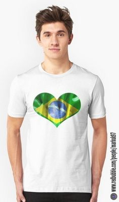 Brazil Flag Textured Heart T-Shirt http://www.redbubble.com/people/markuk97/works/22738410-brazil-flag-textured-heart?asc=t&p=t-shirt via @redbubble #RioOlympics2016 #Brazil #Heart #redbubble