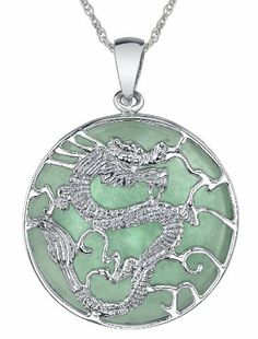 "Sterling Silver Green Jade Large Dragon Pendant Necklace, 18"" Amazon Curated Collection. $47.00. Made in China. Save 47%!"