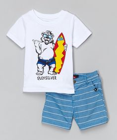 Look at this Quiksilver White Surfer Bear Tee & Blue Shorts - Infant & Toddler on #zulily today!