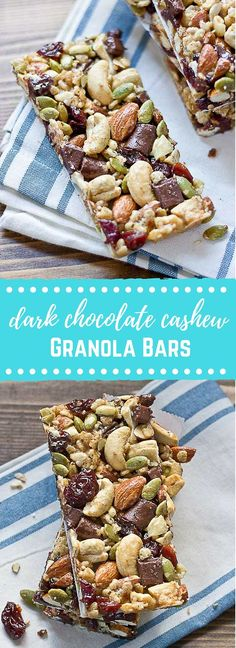 Tart Cherry, Dark Chocolate & Cashew Granola Bars. These snack bars are sweet, tart, salty, crunchy, healthy, yummy, and easy to make�� what else can you ask for in a snack!? Gluten free and vegan.
