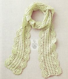 Pastel Green Scallop Edge Scarf free crochet graph pattern
