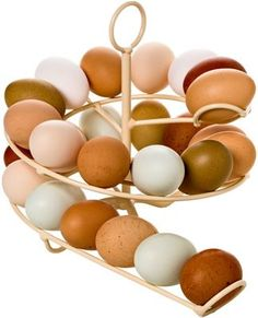 The Egg Skelter - Add eggs to the top as they are laid and use eggs from the bottom when you need them. Great way to keep track of using up your older eggs first.